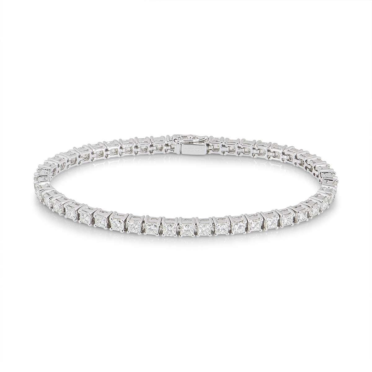 White Gold Princess Cut Diamond Line Bracelet 8.61ct